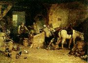 a country blacksmith disputing upon the price of i ron and the price charged to the butcher for shoeing his poney