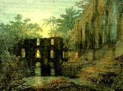 the dormitorg and trancept of fountain's abbey-evening