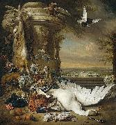 Jan Weenix A monkey and a dog beside dead game and fruit, with the estate of Rijxdorp near Wassenaar in the background oil painting