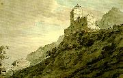 John Robert Cozens south gate of sargans oil painting
