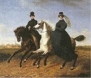 General Krieg of Hochfelden and his wife on horseback,