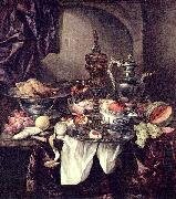 Abraham van Beijeren Still life with fruit, roast, silver- and glassware, porcelain and columbine cup on a dark tablecloth with white serviette. oil painting