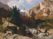 Alexandre Calame Mountain Torrent oil on canvas painting by Alexandre Calame, about 1850-60 oil painting artist