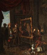 A nobleman visits an artist in his studio