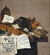 Anthonie Leemans Still life with a copy of De Waere Mercurius oil painting