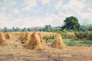Arthur Boyd Houghton Wheatfield, Wiltshire oil painting