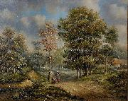Barend Cornelis Koekkoek Walk in the woods oil painting