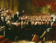 Oil painting of William Smeal addressing the Anti-Slavery Society at their annual convention