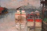 Carl Wagner Coal Barges on the Lower Schuylkill oil painting