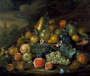 A Still Life of Pears, Peaches and Grapes