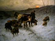 Winter evening after the cattle market
