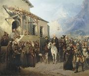 Field Marshal Alexander Suvorov at the top of the St. Gotthard September 13