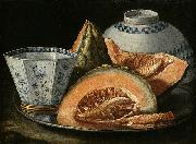 A Still-Life with Melon, an octagonal blue and white cup on a Silver Charger