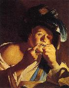 Dirck van Baburen Man Playing a Jew s Harp oil painting