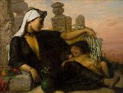 Egyptian Fellah woman with her child.