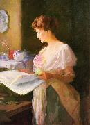 Ellen Day Hale Morning News. Private collection oil painting