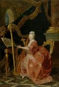 Victoire de France playing her harp