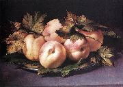 FIGINO, Giovanni Ambrogio Metal Plate with Peaches and Vine Leaves oil painting