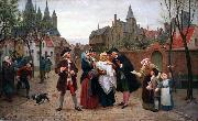 Felix de Vigne A Baptism in Flanders in the 18th Century oil painting reproduction