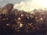 Battle among Christians and Turks. Oil-painting,