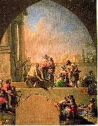 Charity of Saint Elladius of Toledo, oil painting by Francisco Bayeu. Cathedral of Toledo cloister