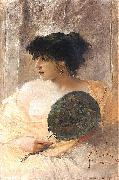 Franciszek zmurko Woman with a fan oil painting reproduction