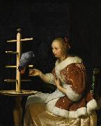 Frans van Mieris A Young Woman in a Red Jacket Feeding a Parrot oil painting