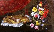 A Still Life of Roses, Carnations, Tulips and other Flowers in a glass Vase, with Pastries and Sweetmeats on a pewter Platter and earthenware Pots, on