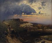HOFFMANN, Hans Freight of Timber Landscape with Lightning oil painting