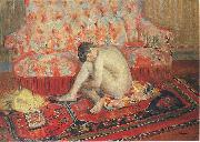 Henri Lebasque Prints Nude on Red Carpet, oil painting