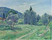 Henri Lebasque Prints Olive Trees in Afternoon at Cannes oil painting