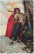 Howard Pyle The Buccaneer was a Picturesque Fellow: illustration of a pirate, dressed to the nines in piracy attire. oil painting