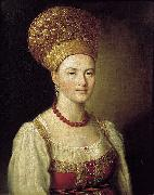 Ivan Argunov Portrait of an Unknown Woman in Russian Costume oil painting