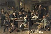 A school class with a sleeping schoolmaster, oil on panel painting by Jan Steen, 1672
