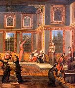 Harem scene with the Sultan