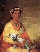 Hawaiian Girl with Dog