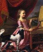 Young lady with a Bird and dog