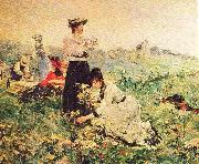 Picnic in Normandy painting