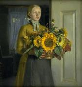 A Girl with Sunflowers