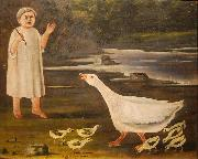 A girl and a goose with goslings