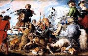 A 1615-1621 oil on canvas 'Wolf and Fox hunt' painting by Peter Paul Rubens