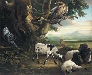 Birds of Prey, Goats and a Wolf, in a Landscape