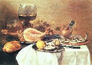 A ham, a herring, oysters, a lemon, bread, onions, grapes and a roemer