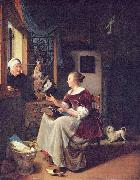 A young lacemaker is interrupted by a birdseller who offers her ware through the window