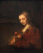 Portrait of a Woman with a Pink Carnation