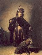 Self portrait in oriental attire with poodle