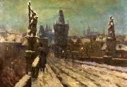 Painting Winter on the Charles bridge