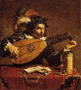 Theodoor Rombouts Lute Player oil painting on canvas