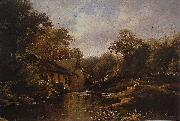 Watermill in the Ardennes with angler