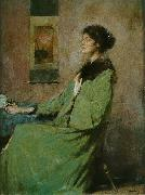 Thomas Dewing Portrait of a Lady Holding a Rose oil painting